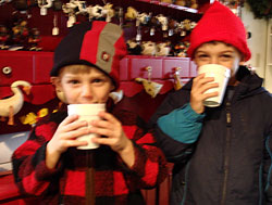 Free hot chocolate in the Warming Car at the Christmas Tree Station-Beckwith Christmas Tree Farm in Hannibal, NY