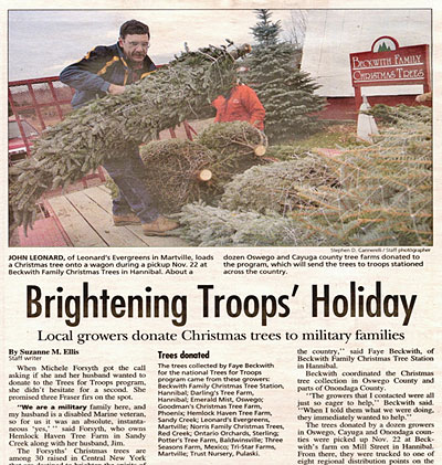 Volunteers help purchase, load and ship free real Christmas trees to the family of our U.S. military, and Beckwith Family Christmas trees is a proud participant in this program.